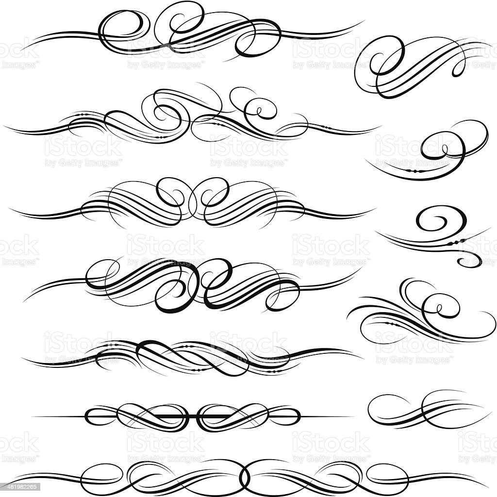 Ornate decorative scroll designs royalty-free stock vector art