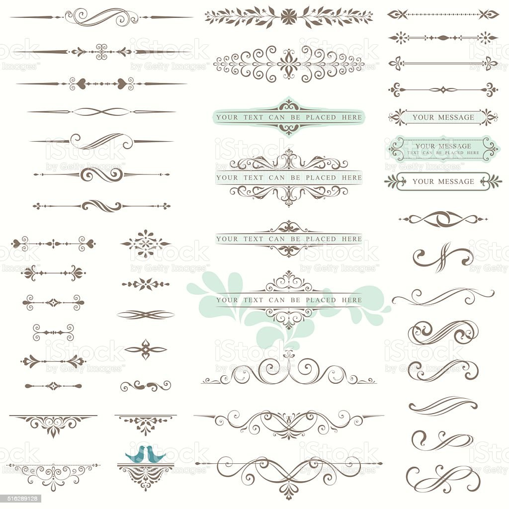 Ornate Design Set vector art illustration