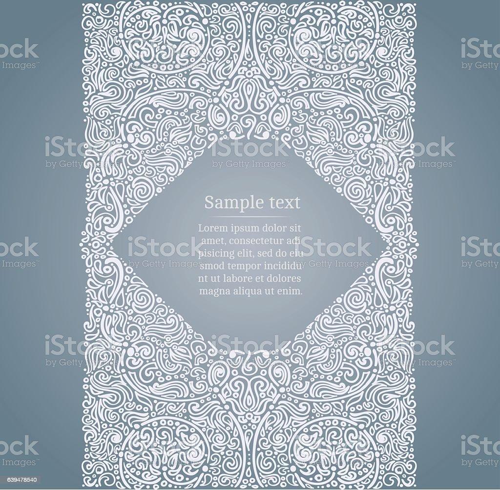 Ornate drawn frame vector art illustration