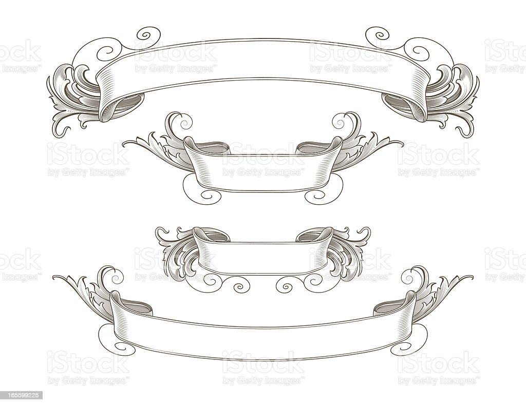 Ornate Engraved Ribbon Banners royalty-free stock vector art