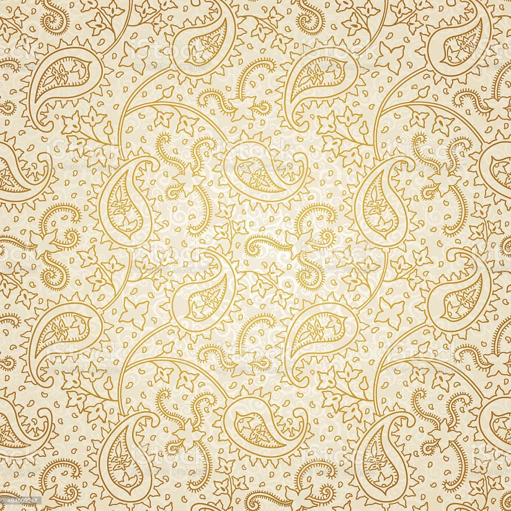 Ornate floral seamless texture in Eastern style. vector art illustration