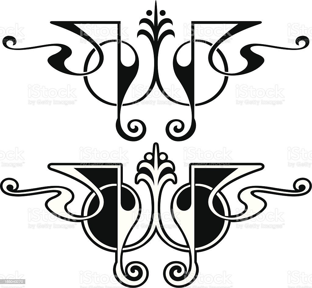 Ornate Flourished Centres royalty-free stock vector art