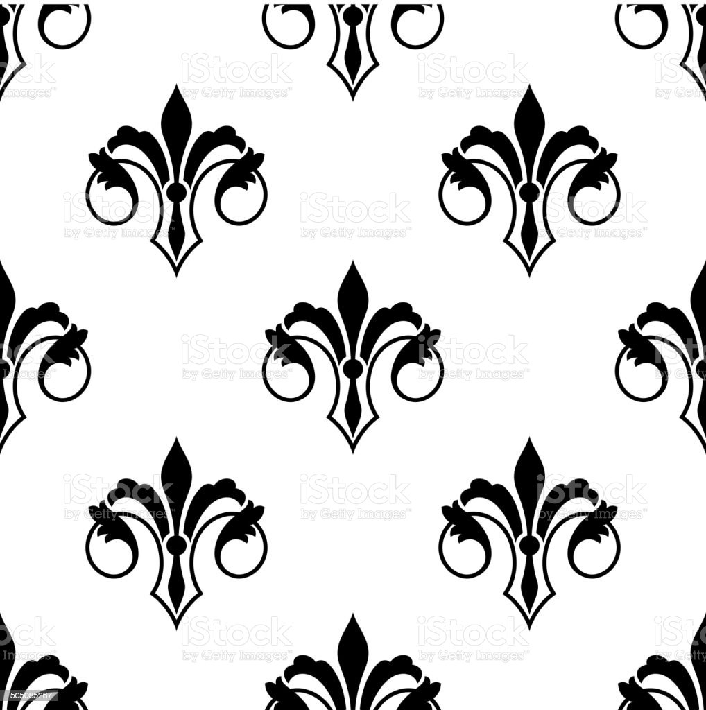 Ornate fluer de lys seamless pattern vector art illustration
