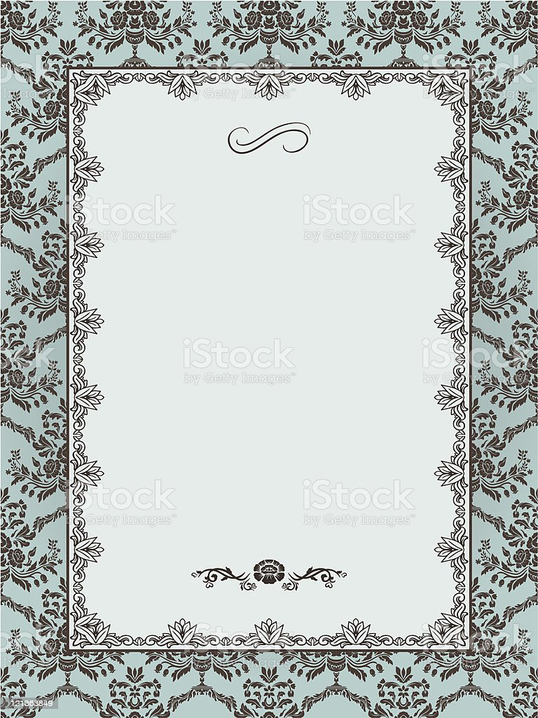Ornate frame on seamless damask background royalty-free stock vector art