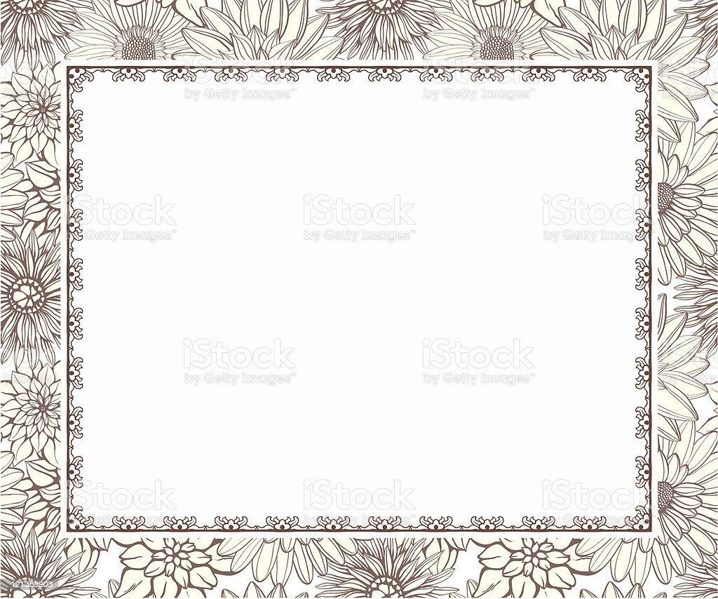 Ornate frame on seamless floral background royalty-free stock vector art