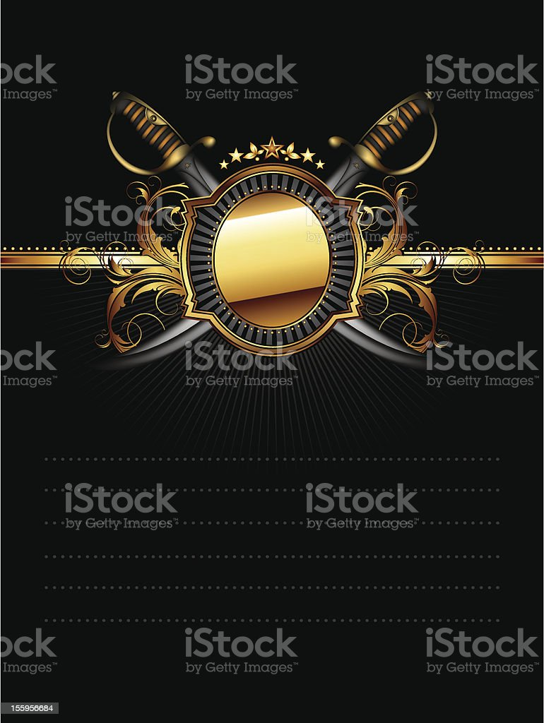 ornate frame with star and sabers royalty-free stock vector art