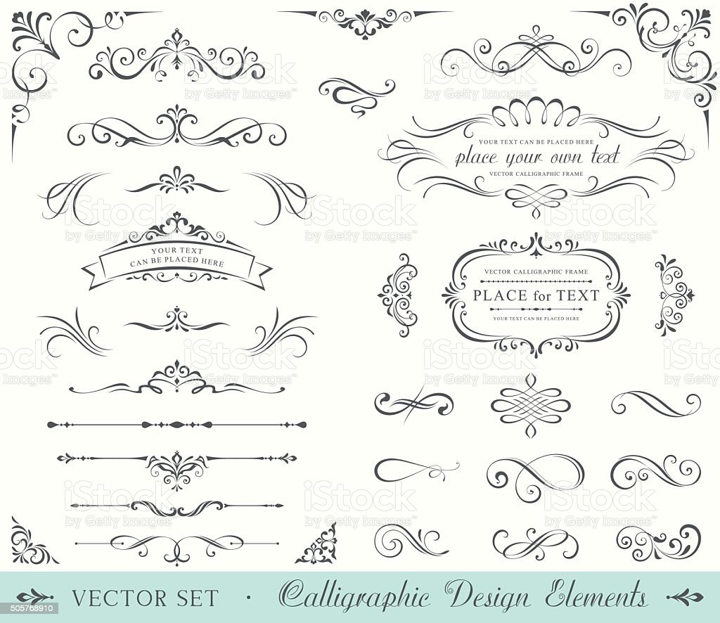 Ornate Frames and Scroll Elements vector art illustration
