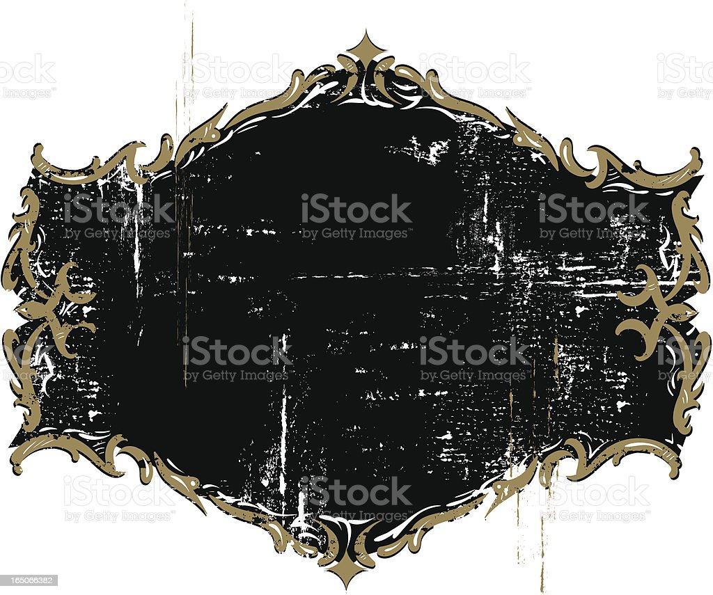 Ornate gilded weathered emblem royalty-free stock vector art