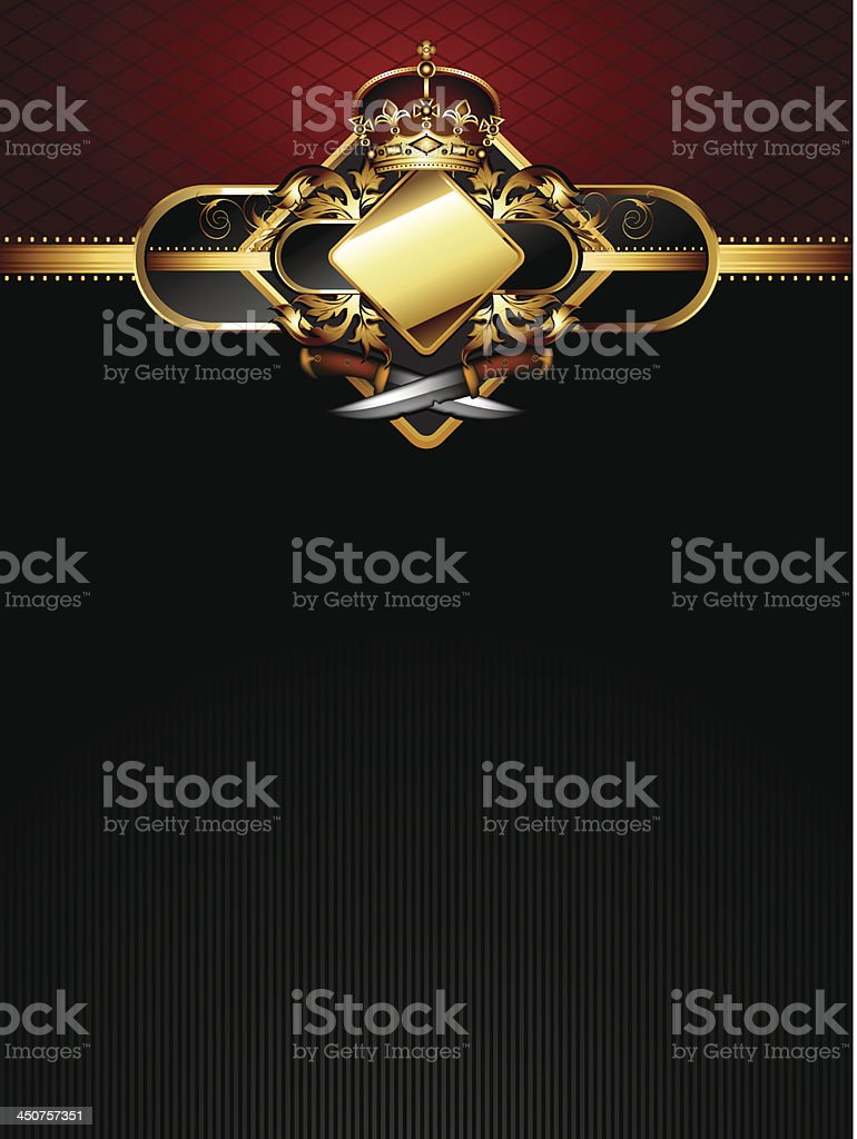 ornate golden frame with knifes royalty-free stock vector art