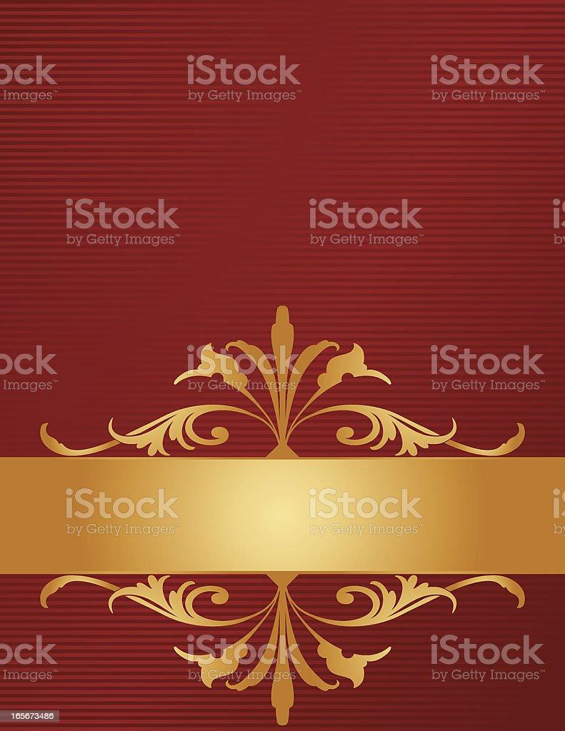 Ornate Golden Scroll Banner vector art illustration