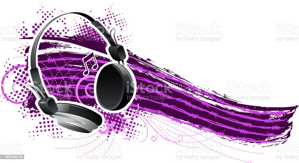 ornate grunge headphone banner royalty-free stock vector art