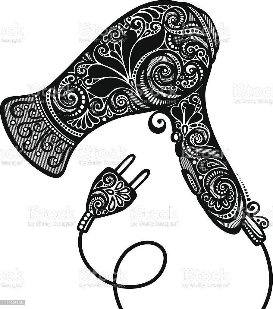 Ornate Hairdryer. Vintage Design vector art illustration