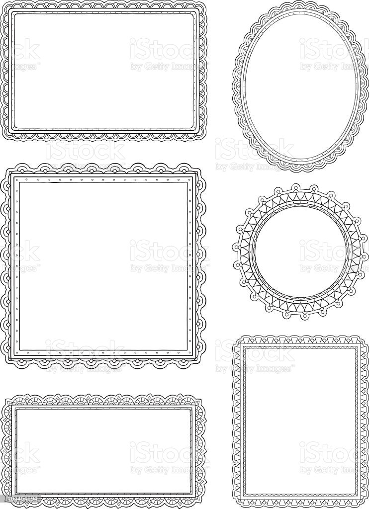 Ornate hand drawn frames vector art illustration