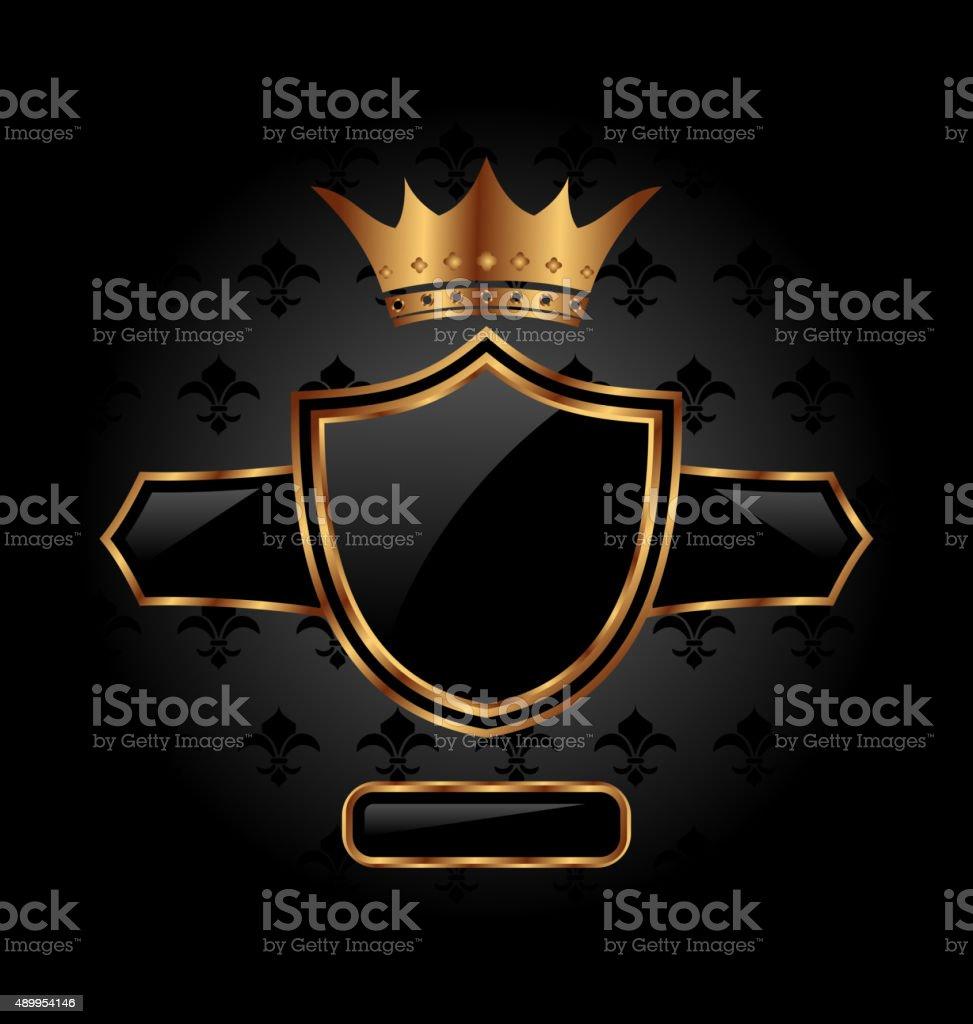 ornate heraldic shield with crown vector art illustration
