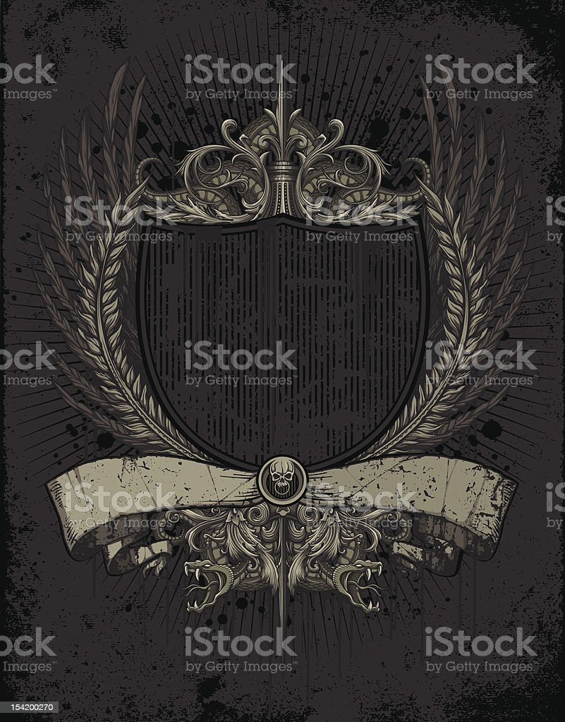 Ornate Heraldry Crest with Skull and Snakes royalty-free stock vector art