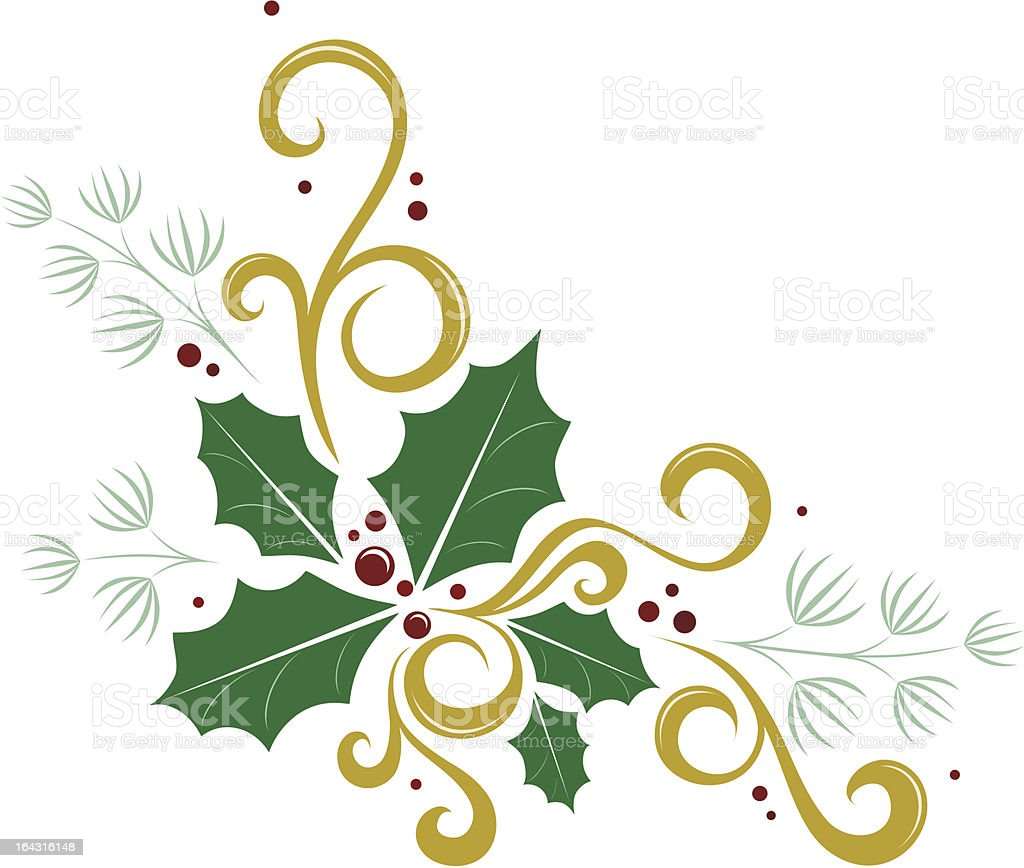 ornate holly banner royalty-free stock vector art
