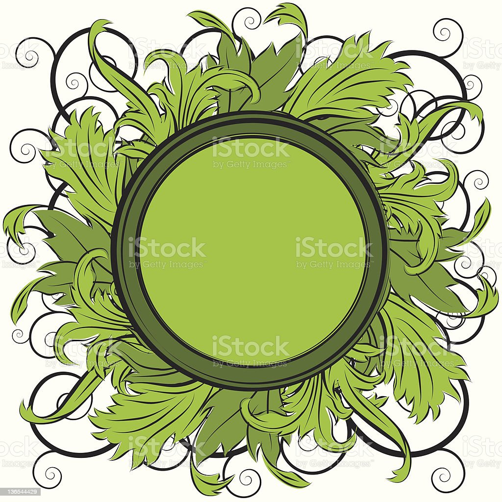 Ornate leaf frame stock photo