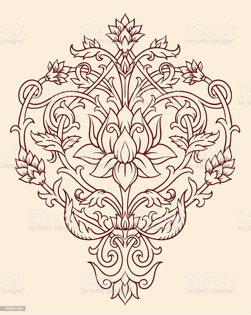 Ornate Lotus Flower Vector royalty-free stock vector art