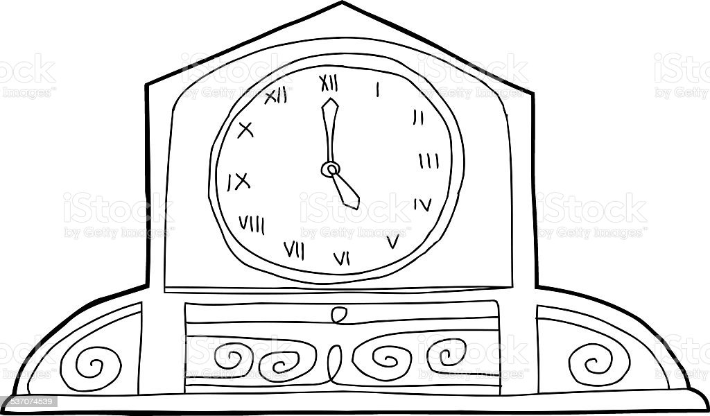 Ornate Mantle Clock Outline vector art illustration