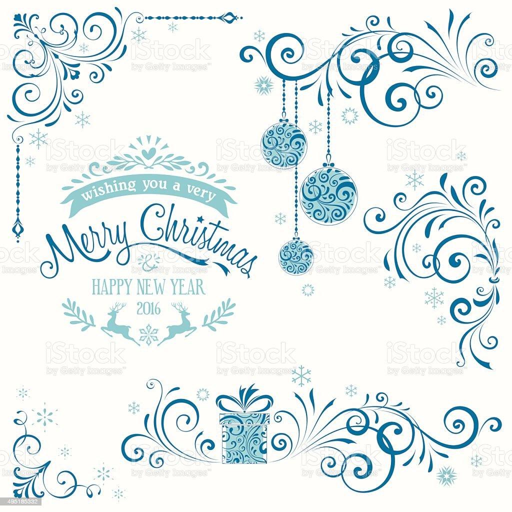 Ornate Merry Christmas Set Blue vector art illustration