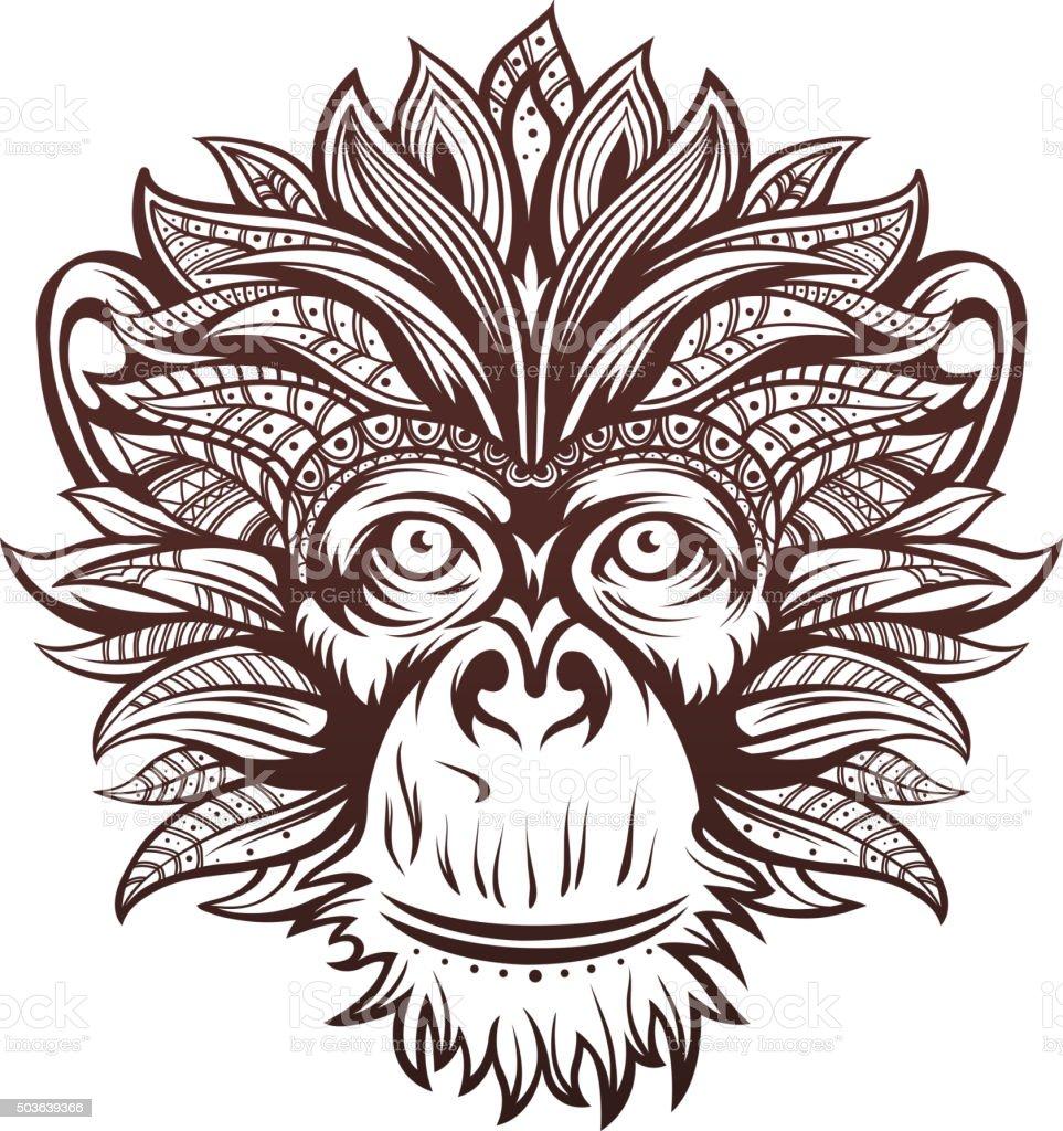 Ornate Monkey Head vector art illustration