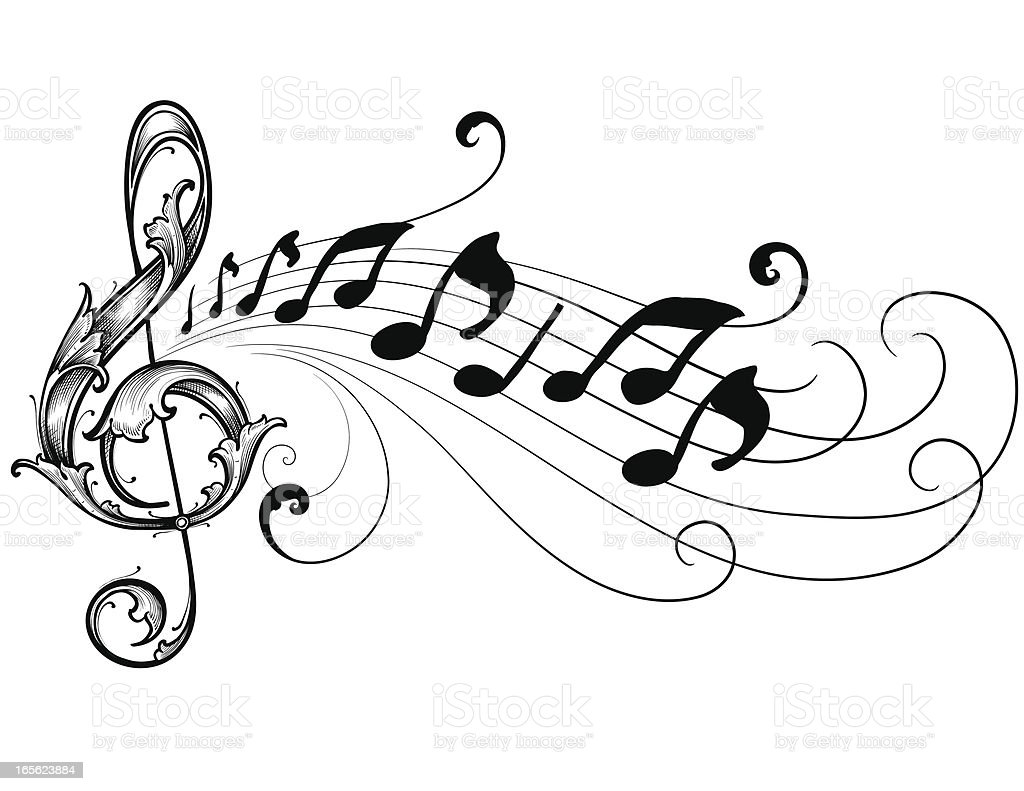Ornate Musical Treble Clef royalty-free stock vector art
