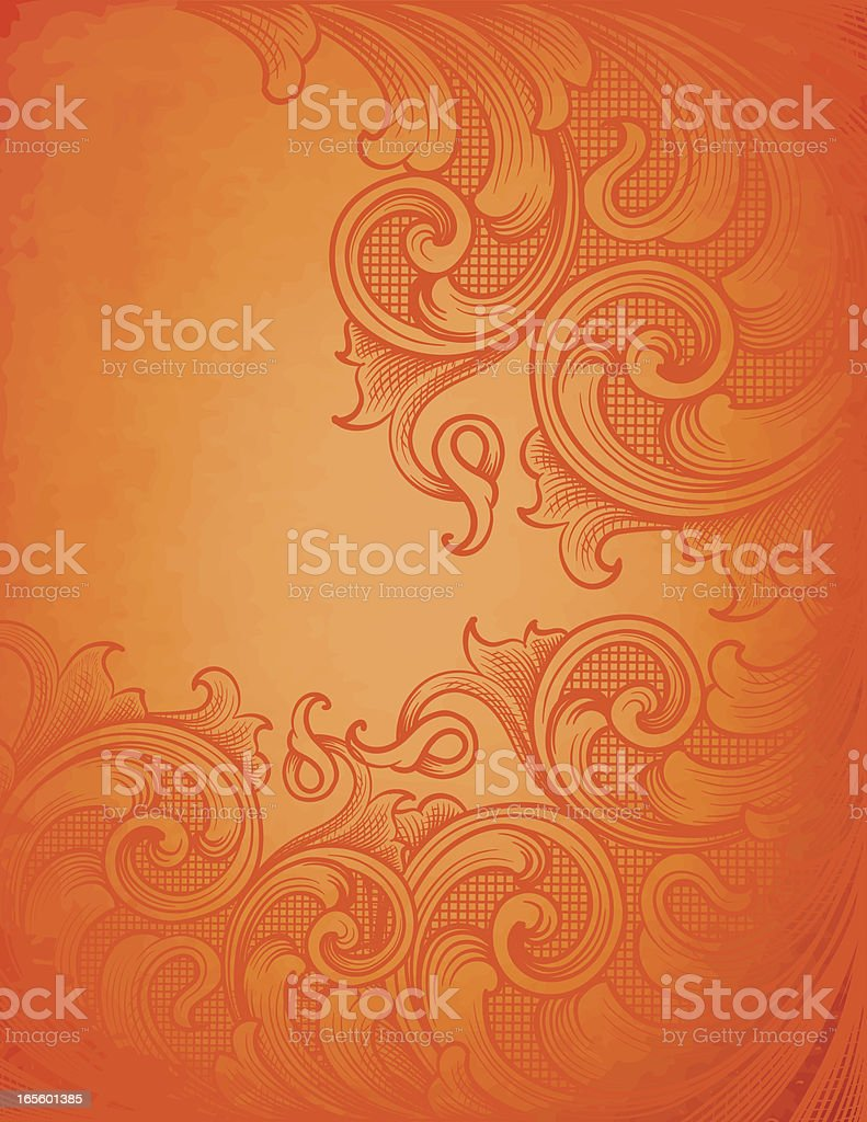 Ornate Orange Scroll Page royalty-free stock vector art