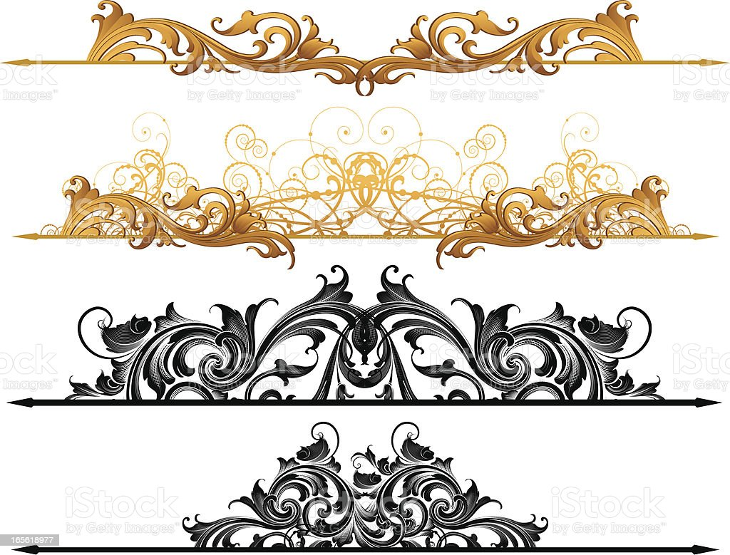 Ornate Page Rules vector art illustration