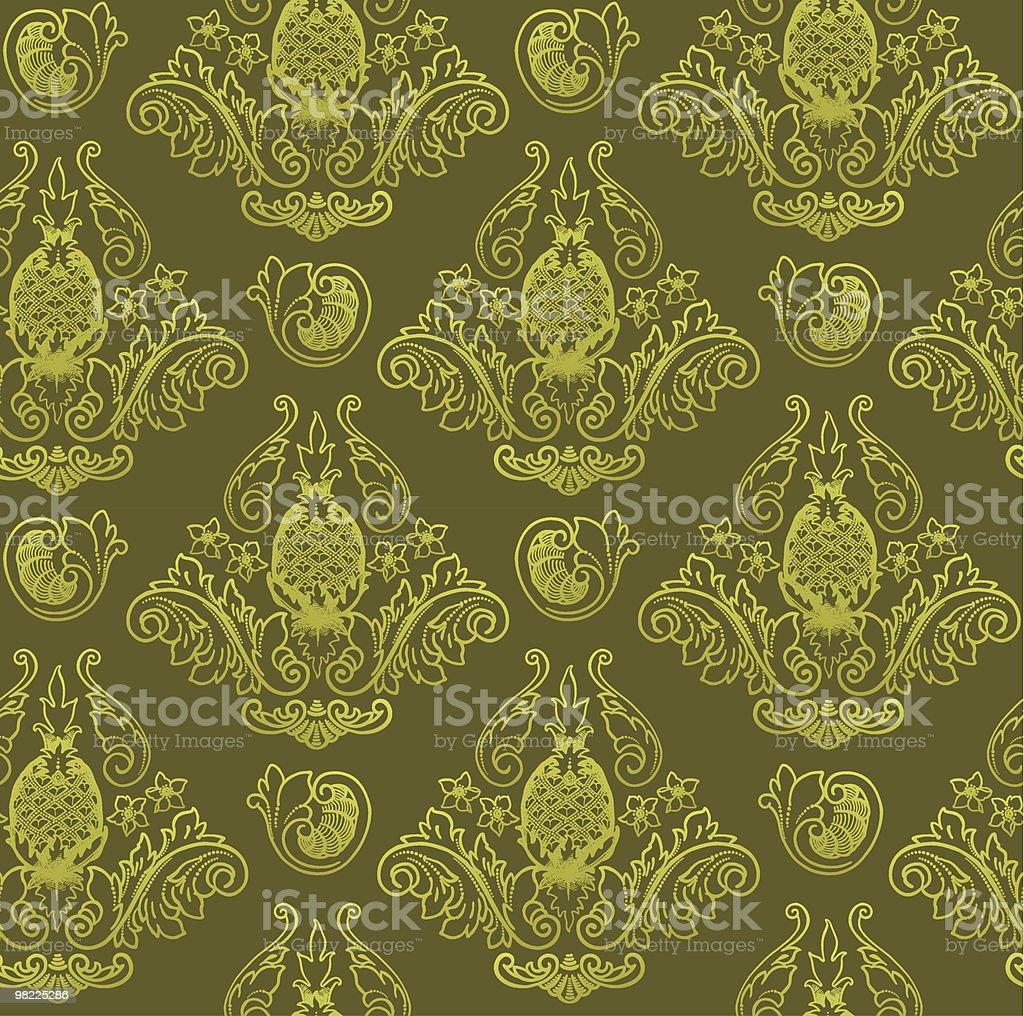 Ornate Pinapple Wallpaper royalty-free stock vector art