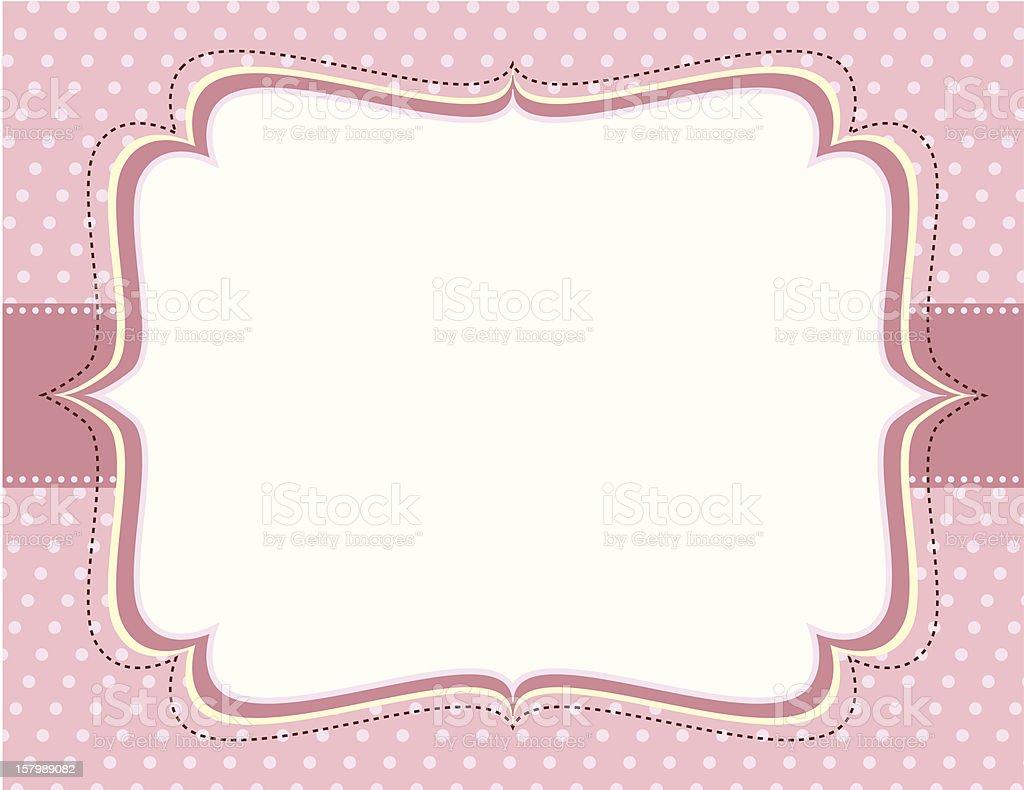 Ornate Pink Polka Dot Frame vector art illustration