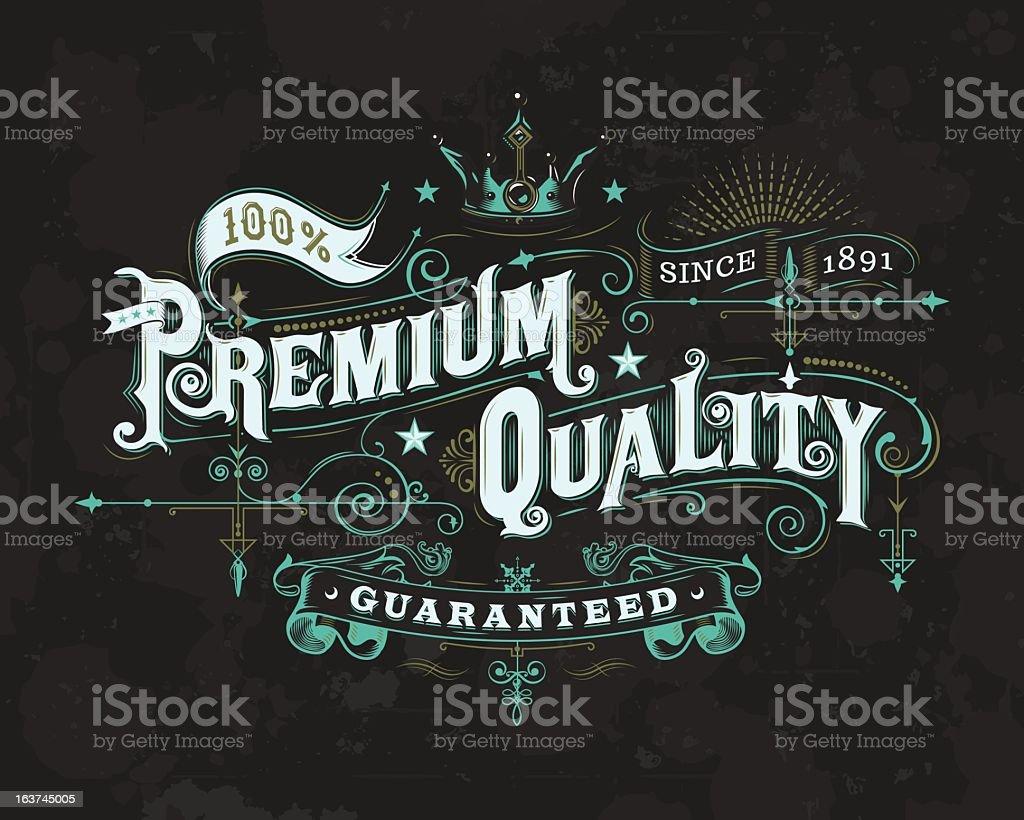 Ornate Premium Quality Label 2 vector art illustration