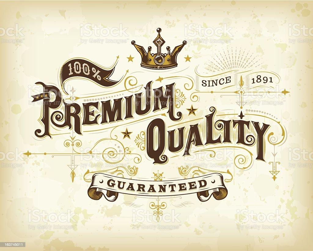 Ornate Premium Quality Label vector art illustration
