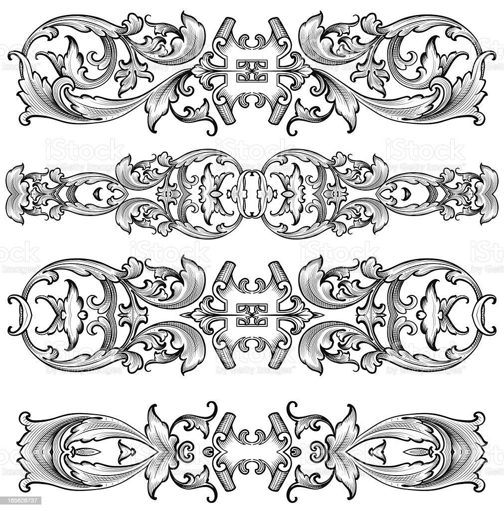 Ornate Renaissance Dividers engraved scrollwork royalty-free stock vector art