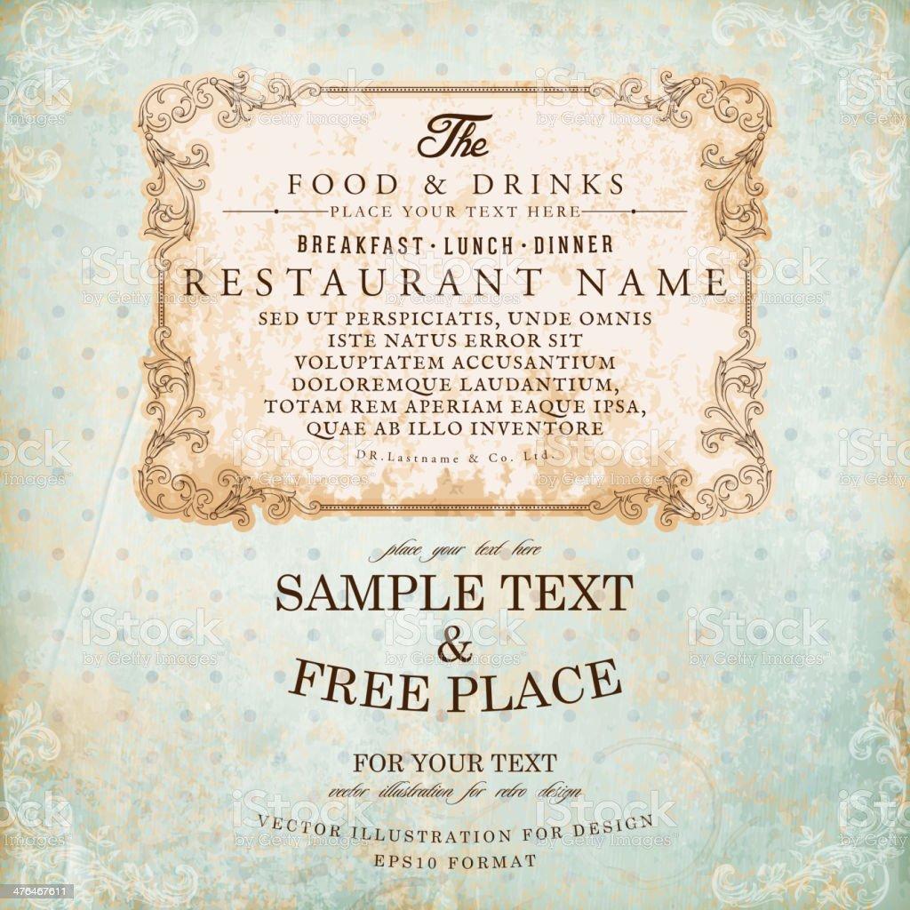 Ornate Restaurant Label vector art illustration