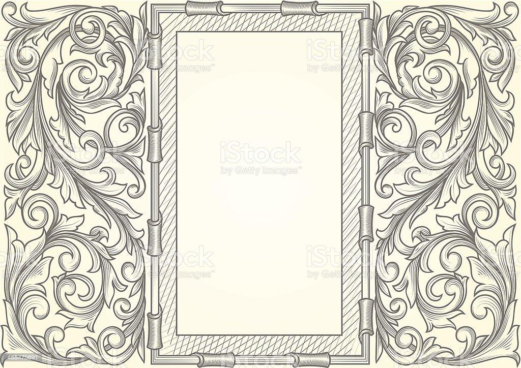 Ornate retro blank vector art illustration
