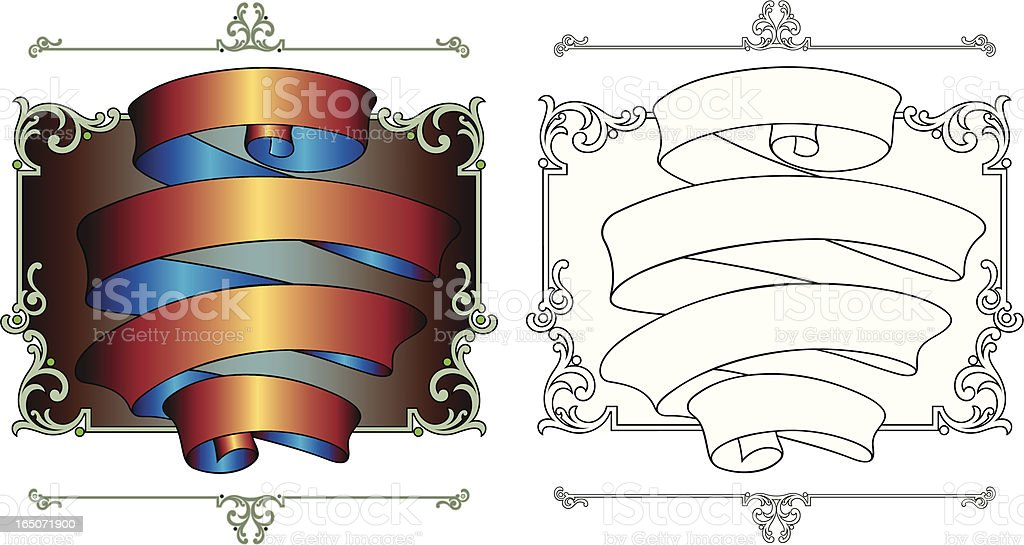 Ornate Ribbon and Panel design royalty-free stock vector art
