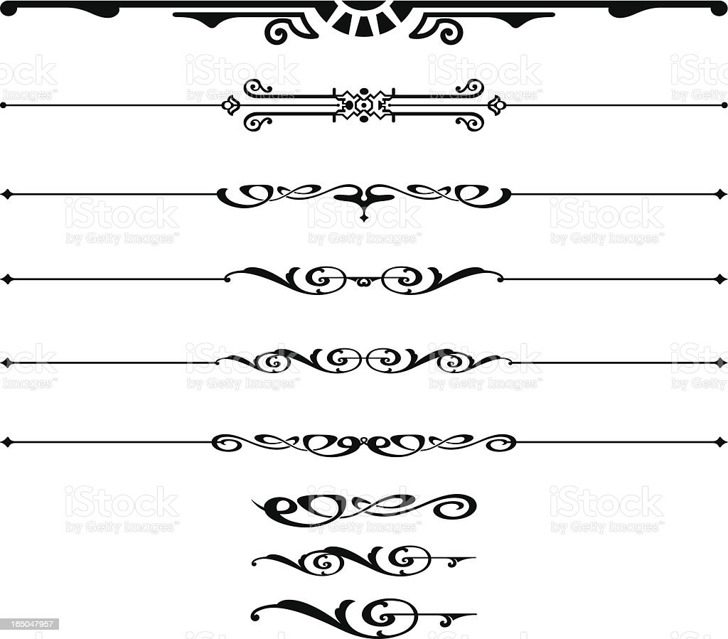 Ornate Rules and Scrolls royalty-free stock vector art