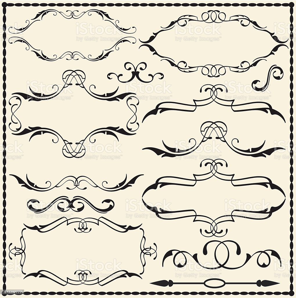 Ornate scroll set vector art illustration