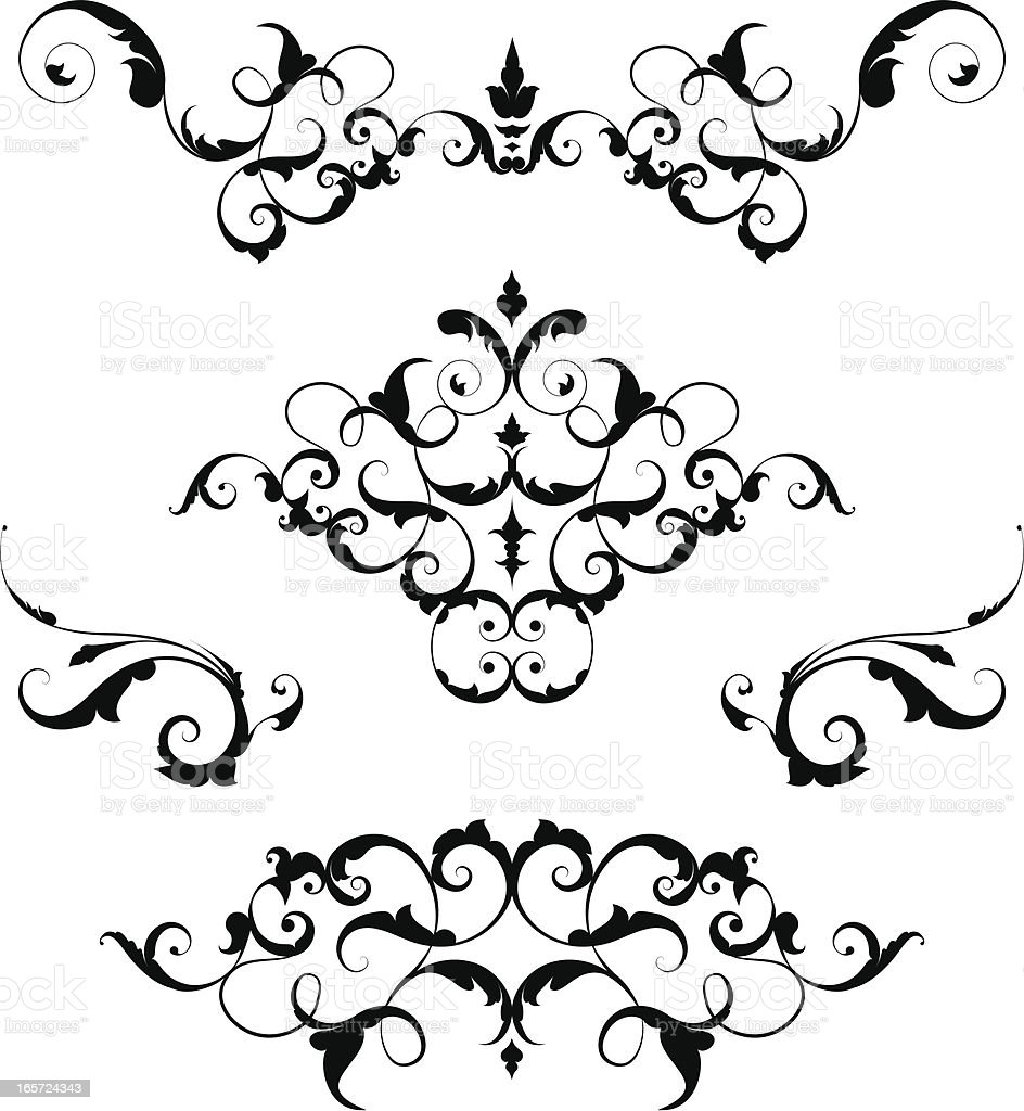 Ornate Scrollwork vector art illustration