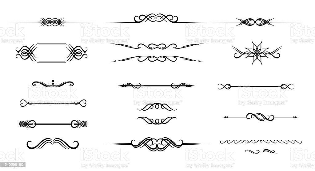 Ornate set of hand drawn vintage frame for text decoration vector art illustration