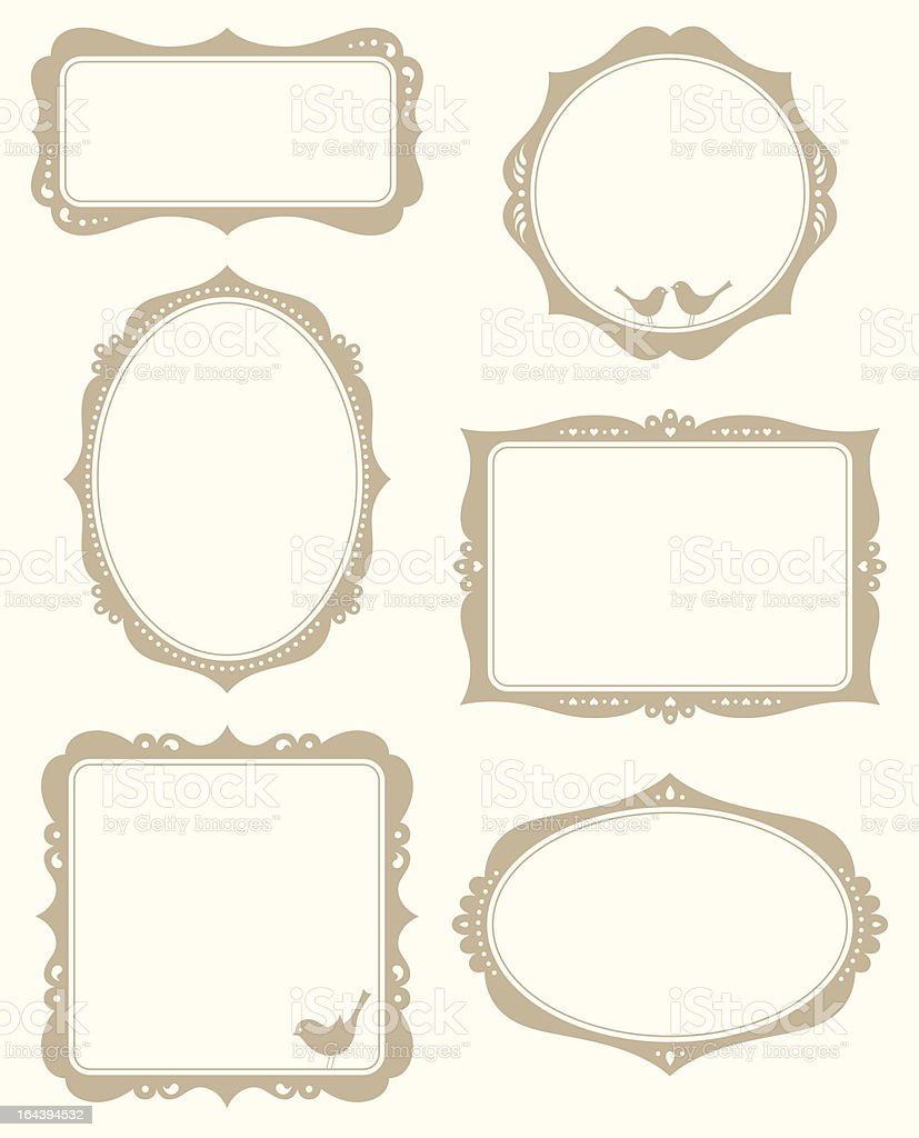 Ornate set of vector picture frames on yellow background vector art illustration