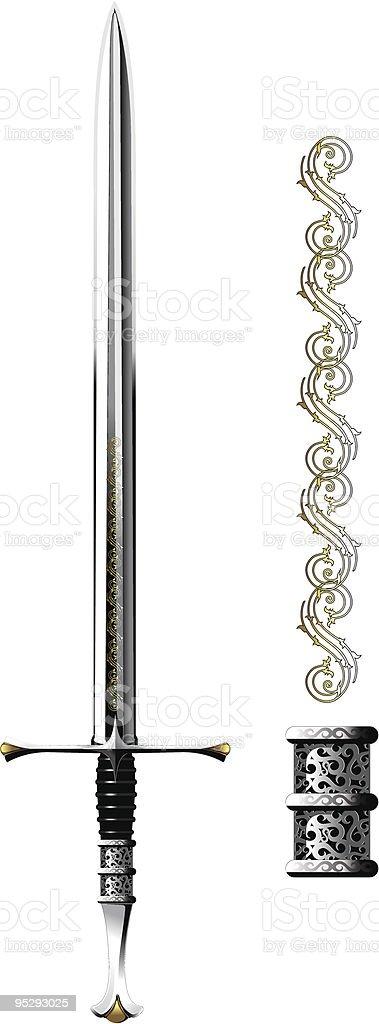 Ornate Steel Sword vector art illustration