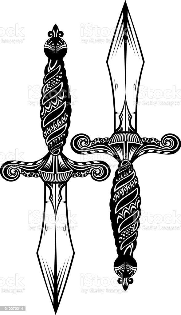 Ornate sword vector art illustration