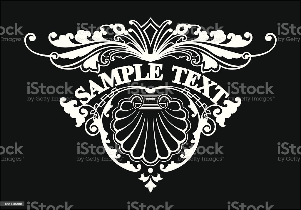 Ornate Triangle Text Banner royalty-free stock vector art
