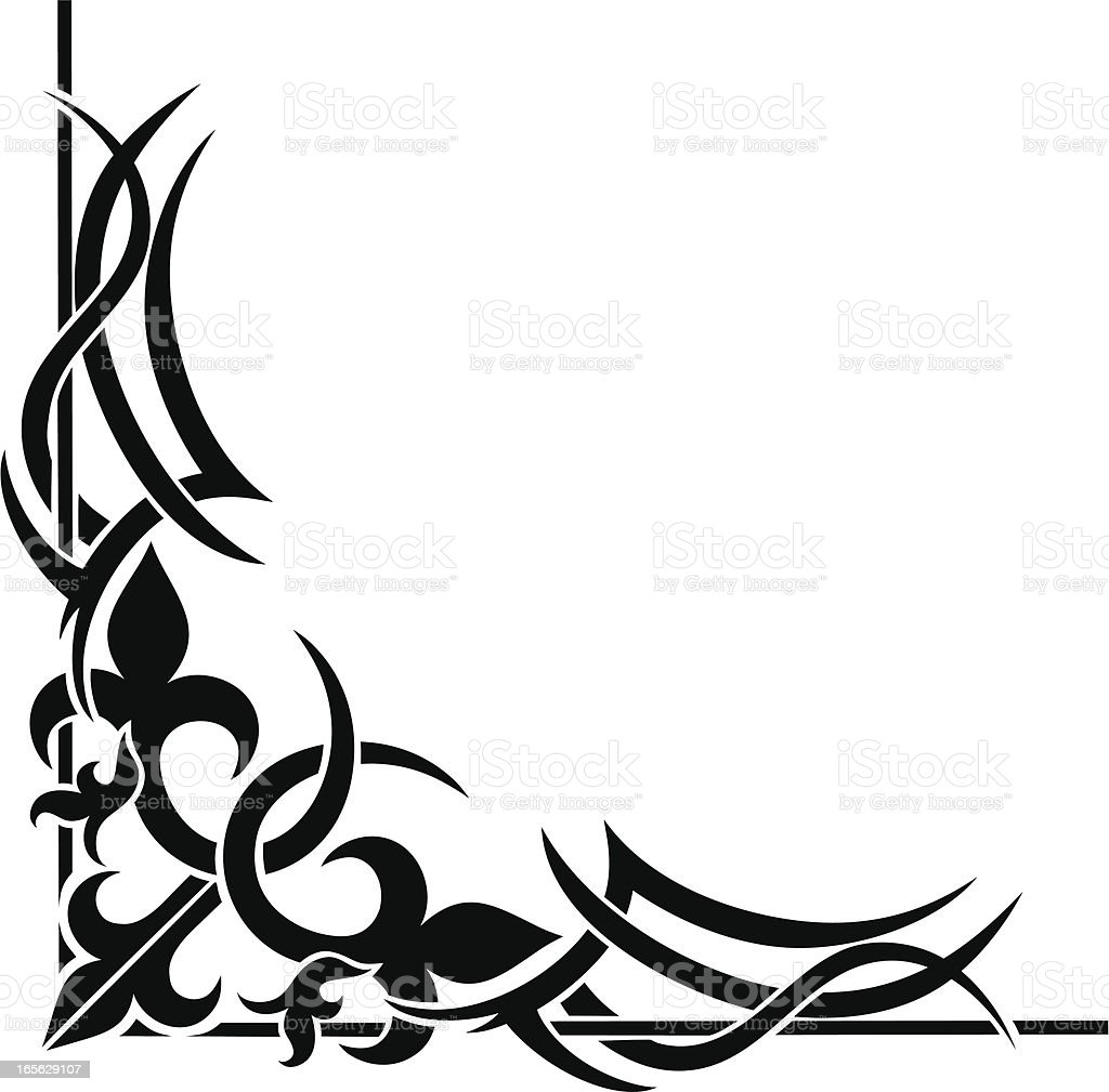Ornate Tribal Corner vector art illustration