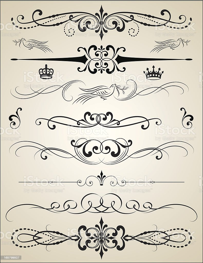 Ornate Vector Page Rules calligraphic royalty-free stock vector art