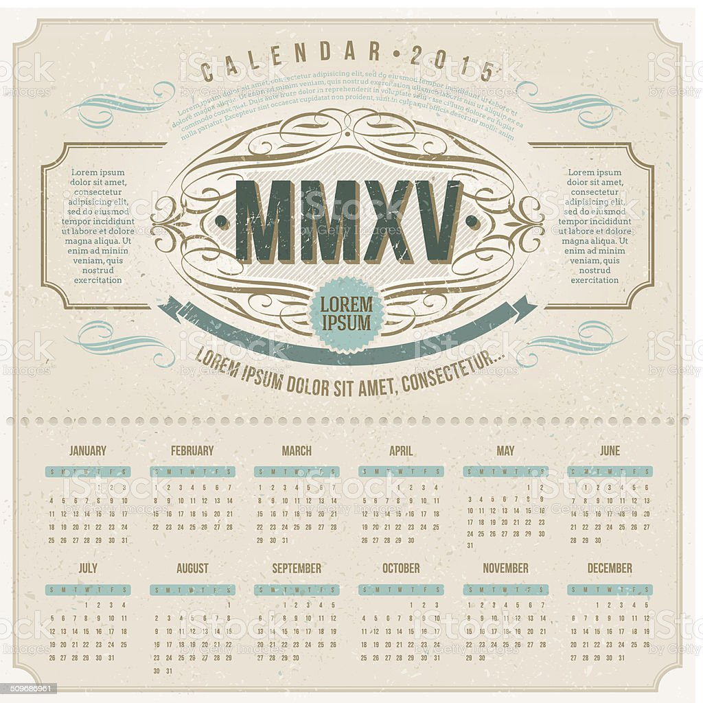 Ornate vintage calendar of 2015 on a cardboard vector art illustration