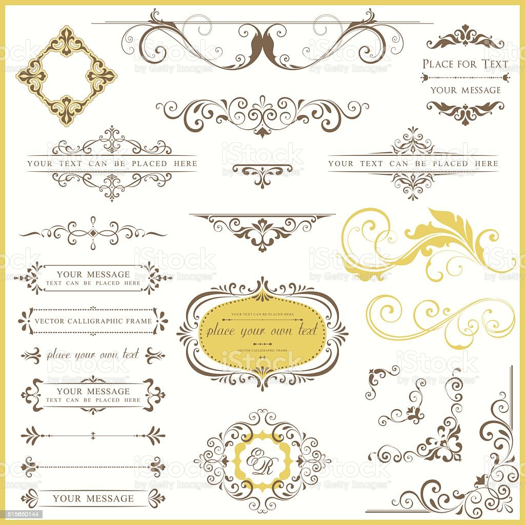 Ornate Vintage Design Set vector art illustration