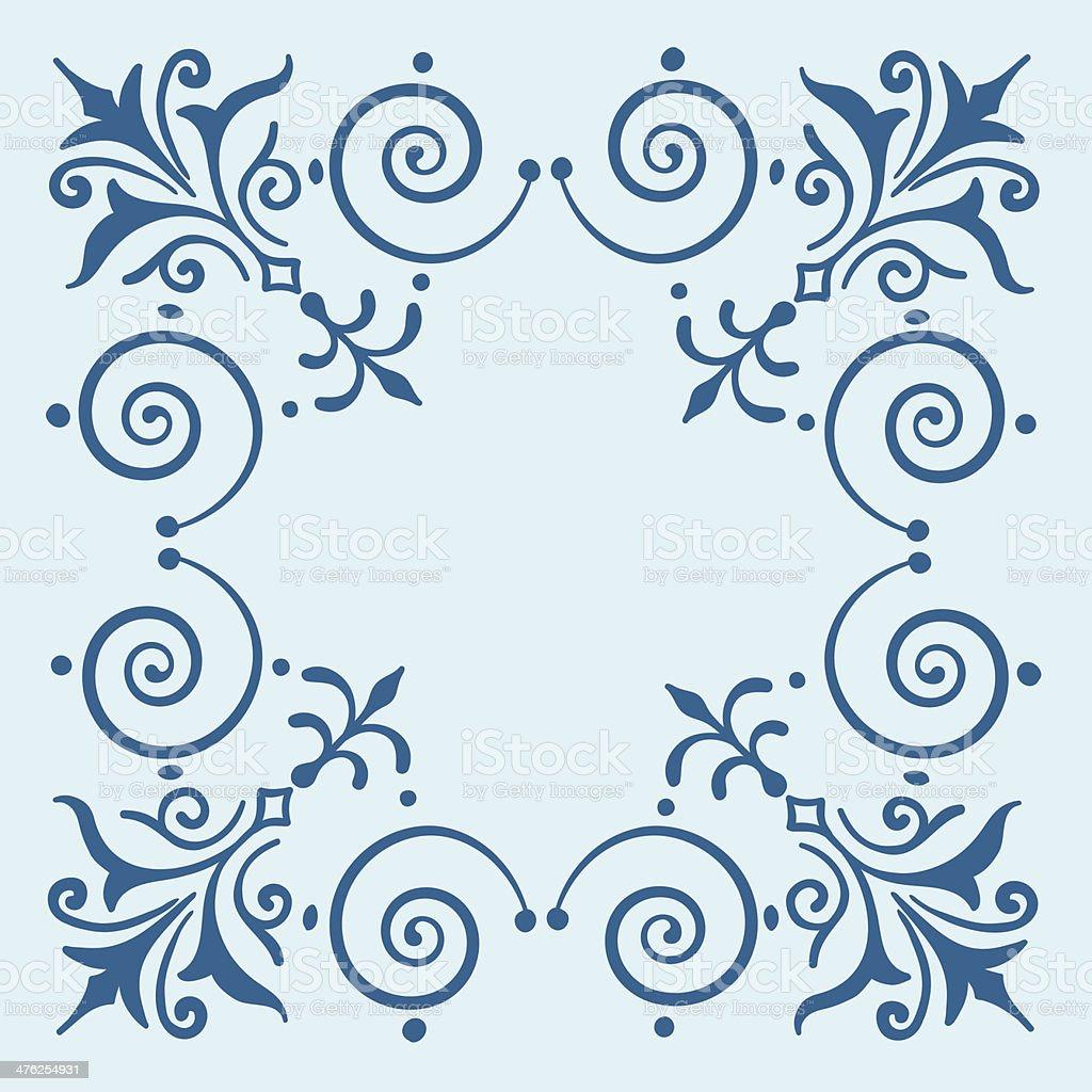 Ornate vintage filigree frame blue royalty-free stock vector art