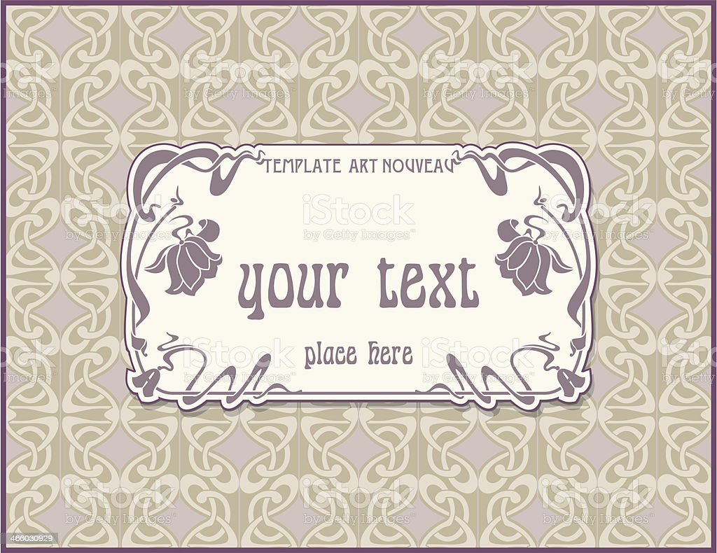 Ornate vintage label in style  Art Nouveau royalty-free stock vector art
